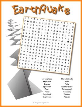 earthquake word search puzzle by puzzles to print tpt