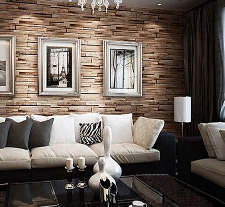 great wall  luxury wood blocks effect brown stone brick