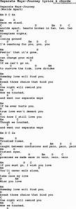 Love Song Lyrics for:Separate Ways-Journey with chords.