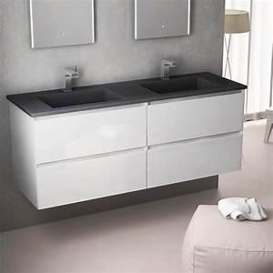 Salle De Bain Meuble : meuble salle de bain 141cm blanc brillant double vasque ~ Dailycaller-alerts.com Idées de Décoration