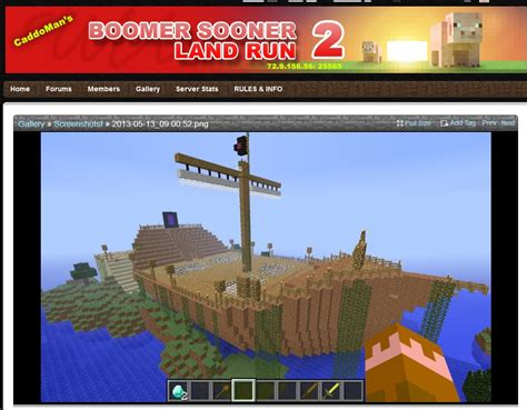 boomer sooner land run  minecraft server