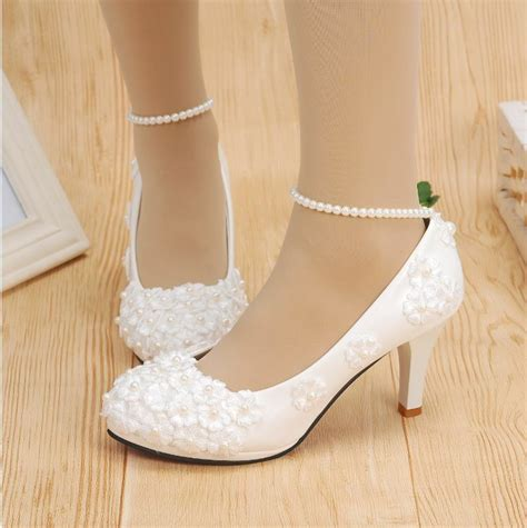 hot white lace wedding shoes pearls ankle trap bridal