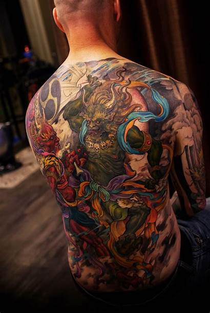 Tattoo God Thunder Wind Colour Tattoos Japanese