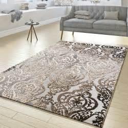 teppich wohnzimmer teppich wohnzimmer abstrakt ornament muster kurzflor teppich meliert grau beige moderne teppiche