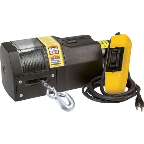 superwinch 110 240 volt ac powered electric winch 1000 lb capacity galvanized wire rope