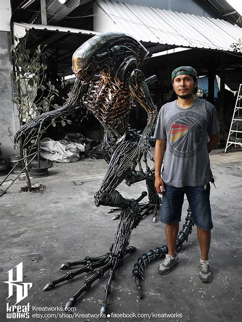 kreatworks recycled metal biomechanical life size