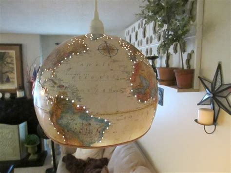 upcycled world globe hanging l pendant light by