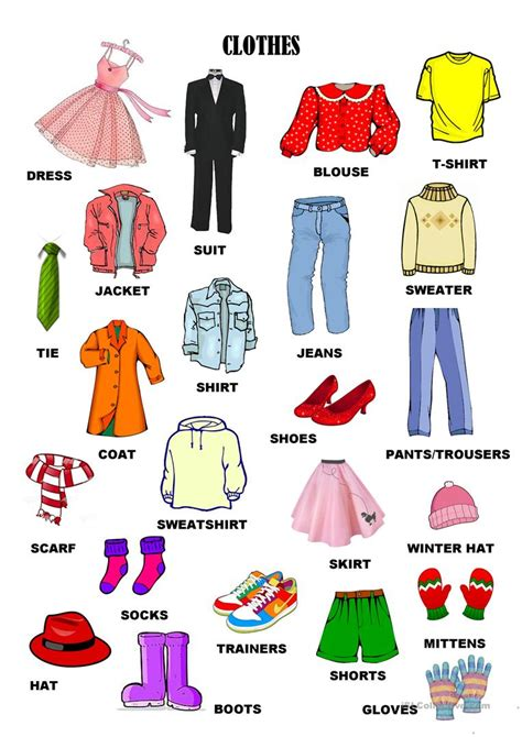 clothes accesories and details 7pages worksheet free