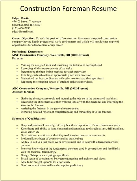 construction foreman resume exle construction foreman
