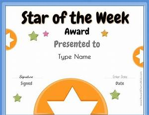 star of the week free printable for teachers star of With star of the week certificate template