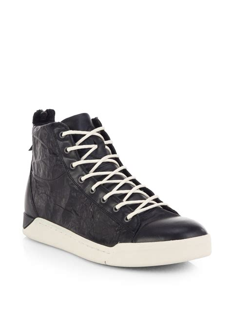 diesel tempus diamond cracked leather high top sneakers