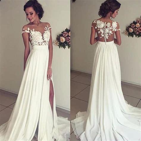 vintage chiffon beach wedding dress summer white cap