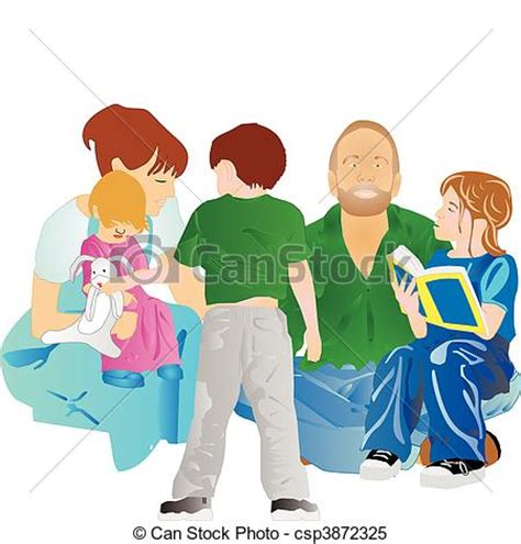 family reading together clipart clipart vector of family all together with