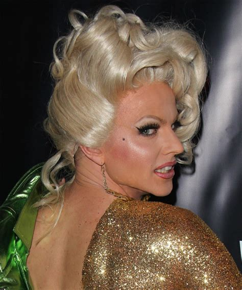 Courtney Act Curly Formal Updo Hairstyle   Light Blonde