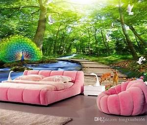3d Tapete Wald : gro handel benutzerdefinierte wandbild tapete 3d wald pfau holz br cke natur landschaft foto ~ Frokenaadalensverden.com Haus und Dekorationen