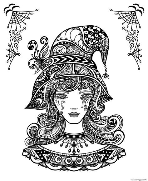 witch halloween  adults coloring pages printable