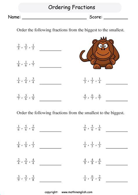 arranging similar fractions worksheet grade  diy worksheet