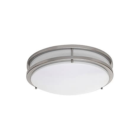 led 10 quot two ring satin nickel ceiling surface light flush