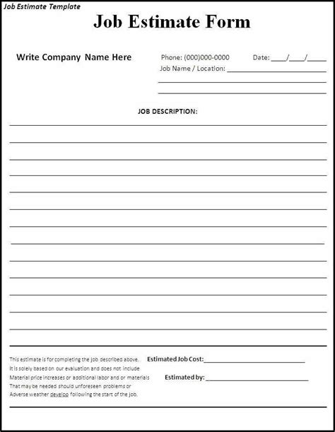 printable contractor proposal forms images