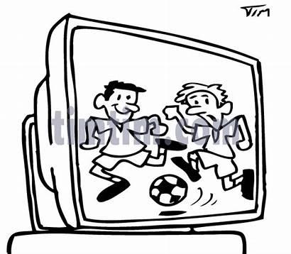 Tv Drawing Football Soccer Television Cartoon Drawings