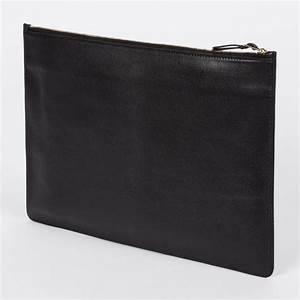 Paul smith men39s black italian leather document pouch in for Mens leather document pouch
