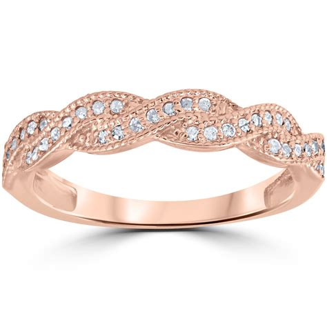 ct pave diamond wedding ring  rose gold ebay