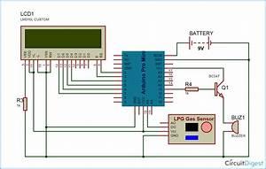 Arduino Based Lpg Gas Detector Circuit Diagram