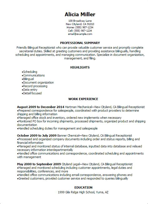 professional bilingual receptionist resume templates to