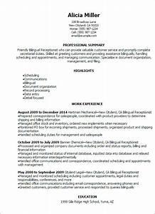 bilingual receptionist resume template best design With bilingual resume