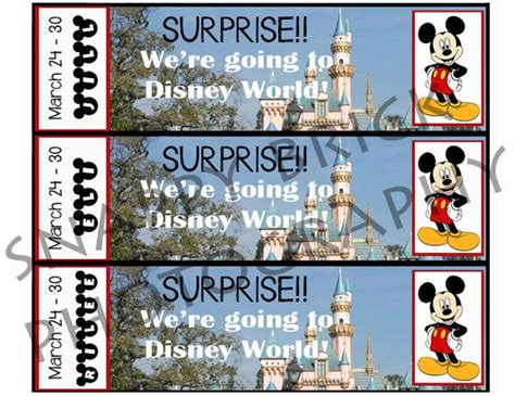 printable ticket  disneyland disney world  custom   personalize surprise mickey mouse diy digital  disneyland  disney