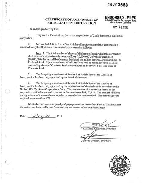 Certificate Of Amendment Of