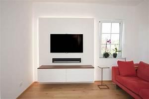 Wohnzimmer Tv Wand Ideen : tv wand mit indirekter beleuchtung wohnen tv wand wohnzimmer und einbauschrank ~ Orissabook.com Haus und Dekorationen
