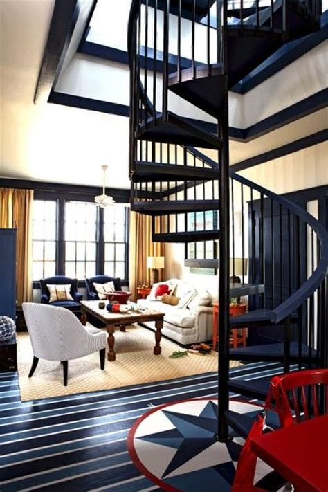 modern interior decorating  blue stripes  nautical