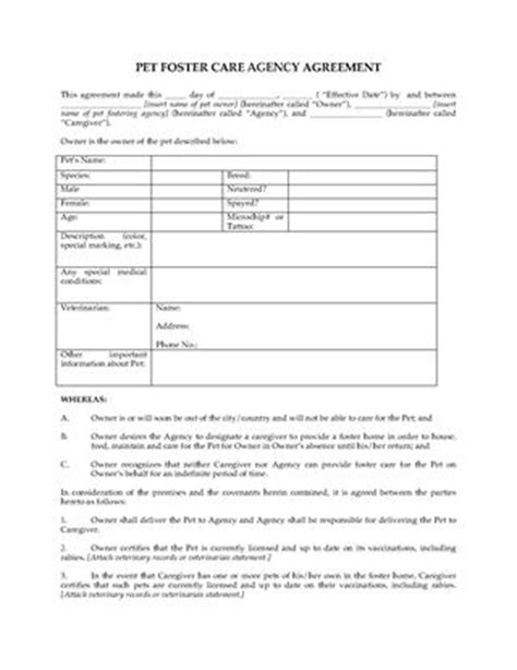 foster care application form animal services forms legal forms and business templates