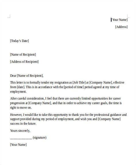 internship resignation letter template   word