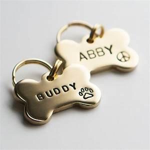 Dog Tag    Pet Id Tag Bone Shaped Tag Brass Customized