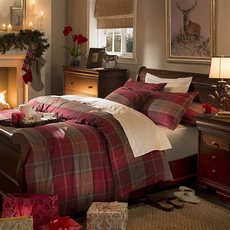 dorma red balmoral check duvet cover set dunelm bed