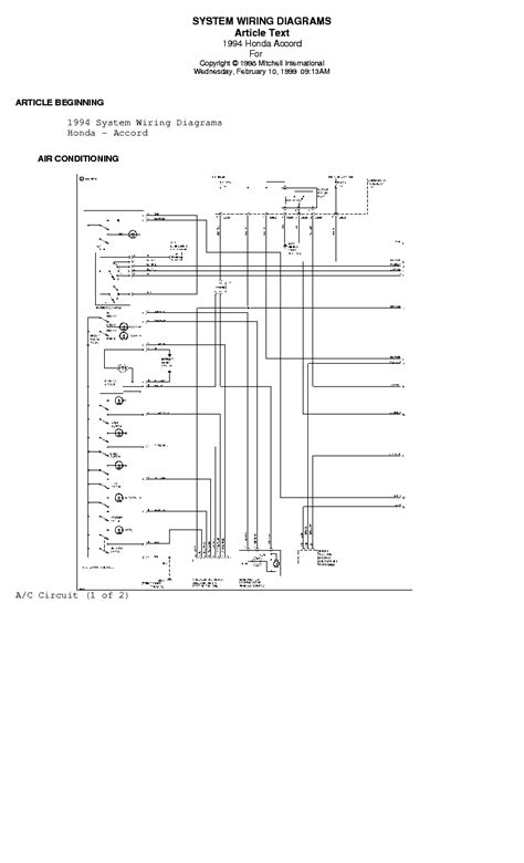 Honda Accord System Wiring Diagrams Service Manual