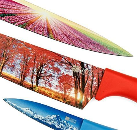 Chef?s Vision 6 Piece Color Landscape Kitchen Knife Set in