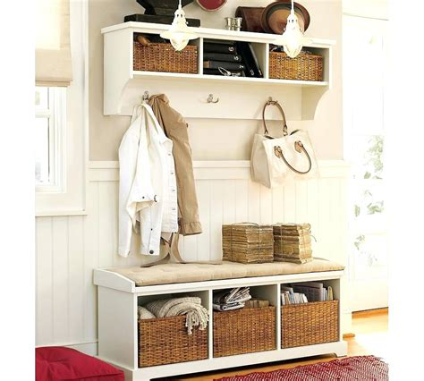 White Small Entryway Coat Rack With Bench — Stabbedinback