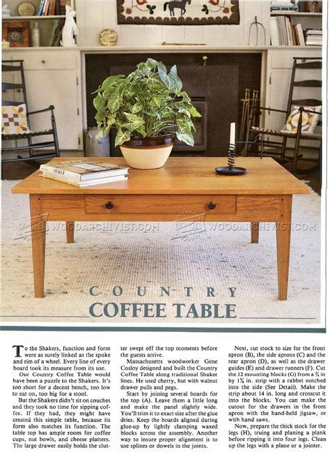 country coffee table plans woodarchivist