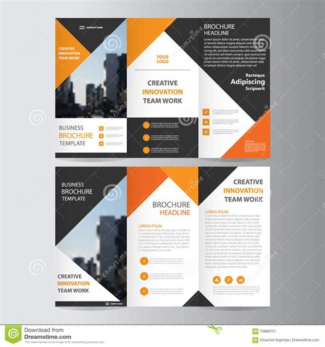Brochure Template Design by Abstract Orange Black Triangle Trifold Leaflet Brochure