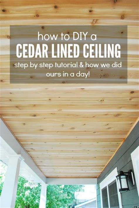 Diy Deck Ceiling by Hometalk How To A Diy Cedar Lined Porch Ceiling