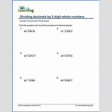 Grade 6 Math Worksheet  Decimals Dividing Decimals By 2digit Whole Numbers  K5 Learning