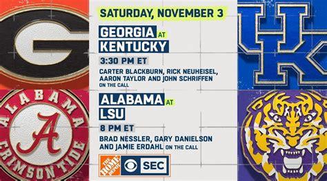 Nov 3-CBS selects Georgia vs. Kentucky to lead ...