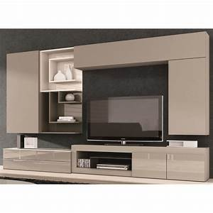 meuble tv taupe juana couleur taupe matiere pan achat With meuble salon couleur taupe