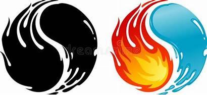 Yin Yang Fire Water Symbol Fuoco Acqua