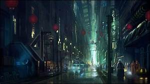 cyberpunk city street wallpaper 1024055 With what kind of paint to use on kitchen cabinets for metal wall art new york city skyline