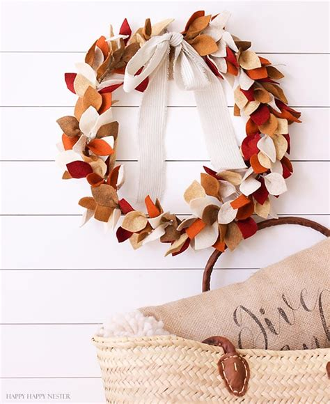 How To Make A Beautiful Felt Leaf Wreath For Fall  Happy Happy Nester