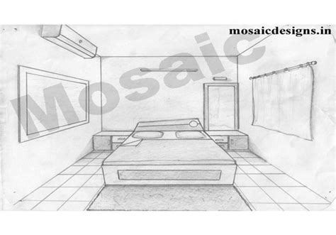 Drawing A Bedroom In Perspective by One Point Perspective Drawing Of A Bedroom Wallpaperall
